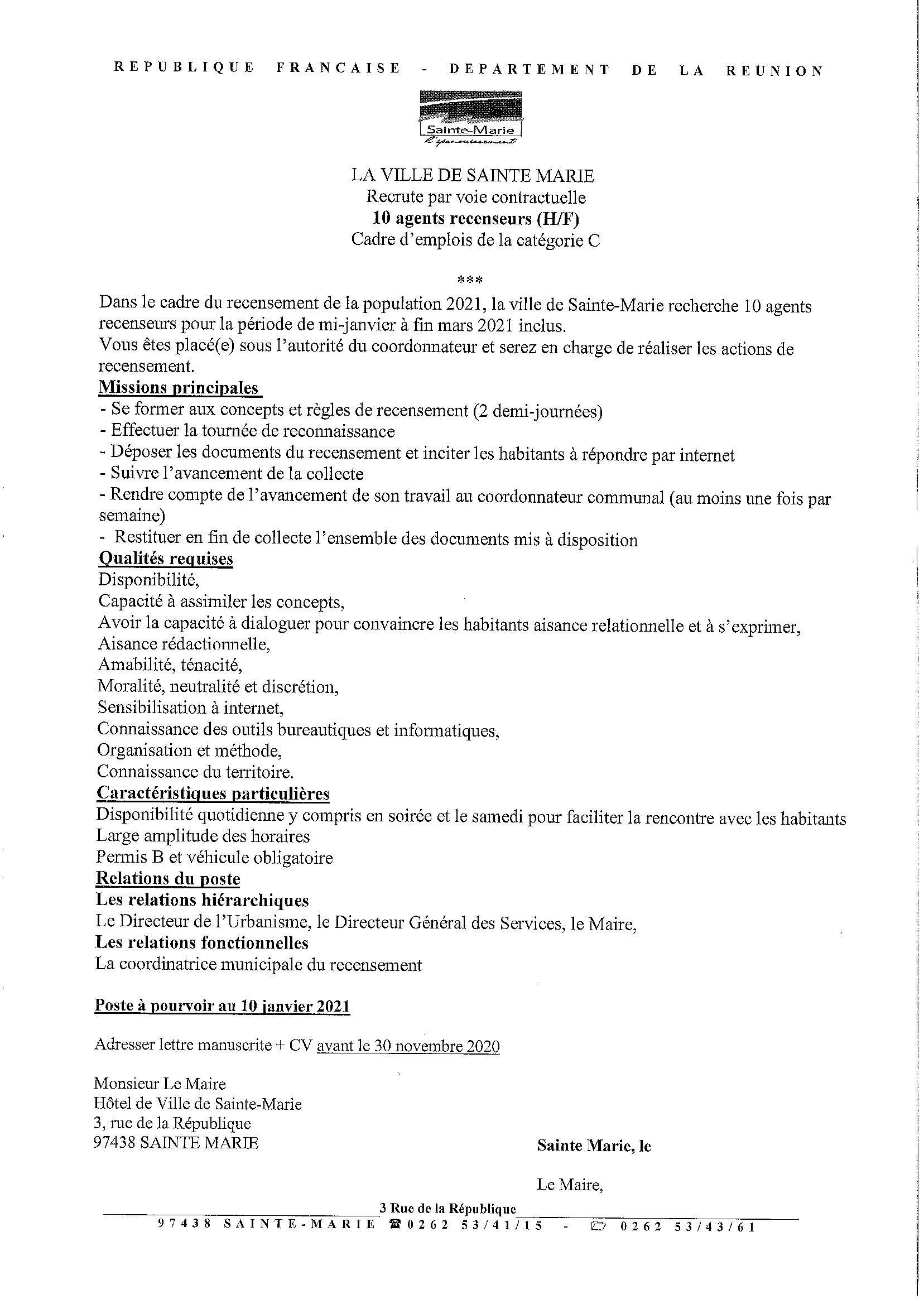 Offre d'emploi (10 agents recenseurs)