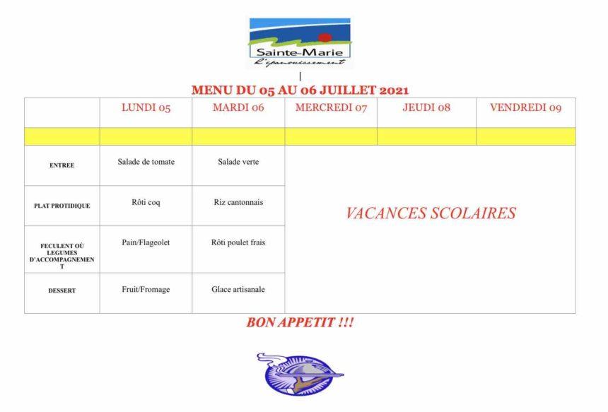 RESTAURATION SCOLAIRE DU 05 AU 06 JUILLET