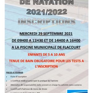 Inscriptions à l'école municipale de natation